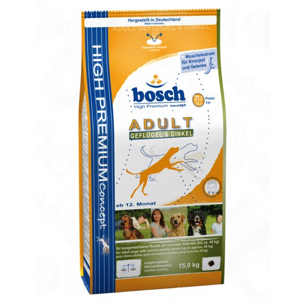 Pachet Bosch Adult cu Pui 15 Kg + 3 Kg + Galeata